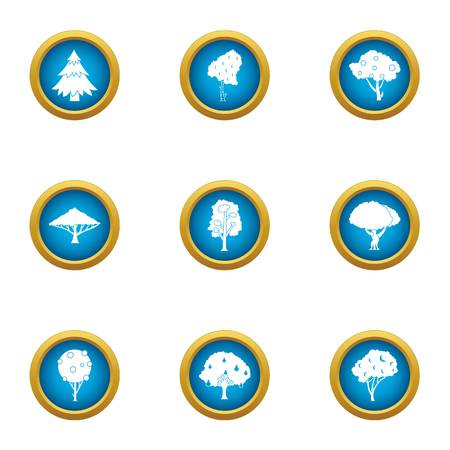 Green tree icons set. Flat set of 9 green tree vector icons for web isolated on white background