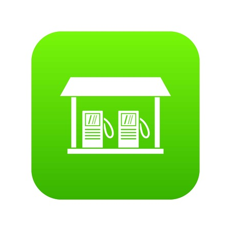 Gas station icon digital green for any design isolated on white vector illustration