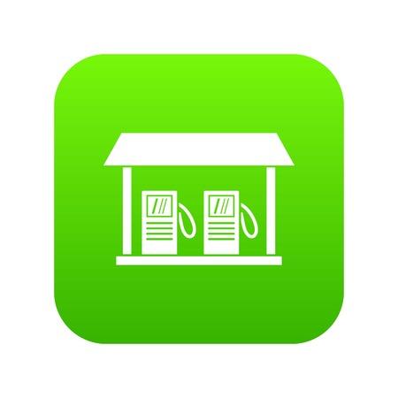 L'icône de la station-service vert numérique pour toute conception isolée sur illustration vectorielle blanc