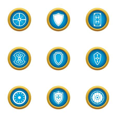 Protection buckler icons set. Flat set of 9 protection buckler vector icons for web isolated on white background