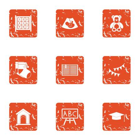 Secondary school icons set. Grunge set of 9 secondary school vector icons for web isolated on white background 일러스트