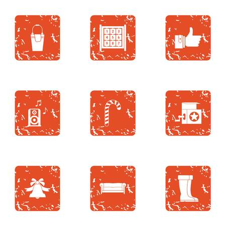 Winter bauble icons set. Grunge set of 9 winter bauble vector icons for web isolated on white background