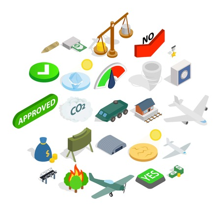 Army icons set. Isometric set of 25 army vector icons for web isolated on white background Çizim