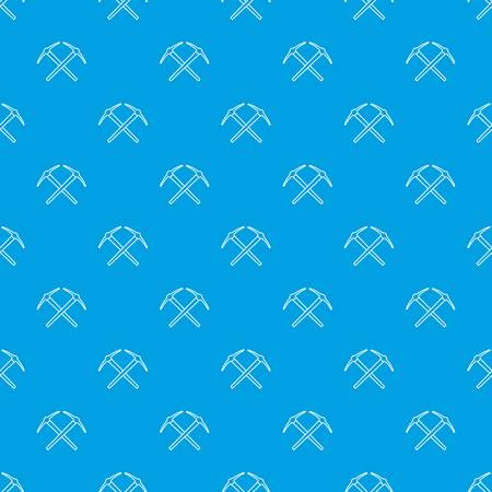 Mining pickaxe pattern vector seamless blue repeat for any use