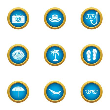 Photo report icons set. Flat set of 9 photo report vector icons for web isolated on white background