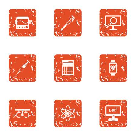 Scientific progress icons set. Grunge set of 9 scientific progress vector icons for web isolated on white background Illustration
