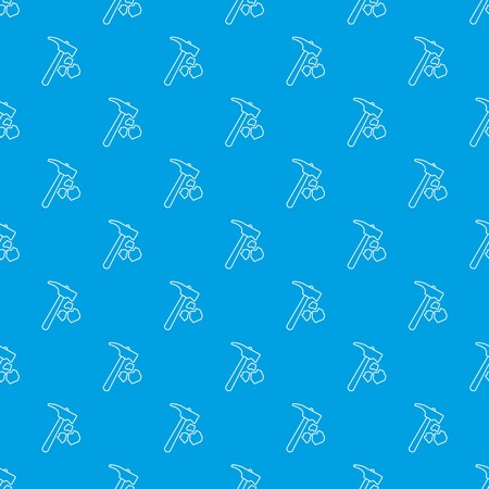 Minning hand hammer pattern vector seamless blue repeat for any use Çizim