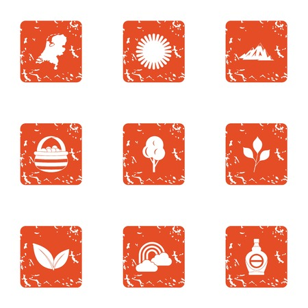 UV protection icons set. Grunge set of 9 UV protection vector icons for web isolated on white background