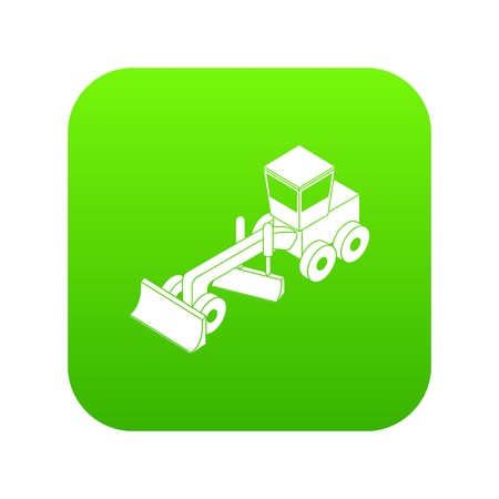 Grader icon green vector isolated on white background