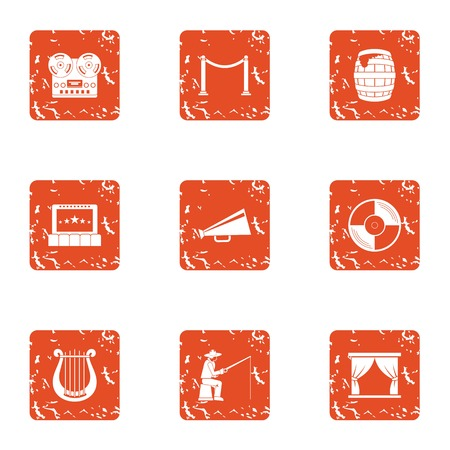 Staging icons set. Grunge set of 9 staging vector icons for web isolated on white background
