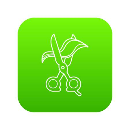 Haircut icon green vector