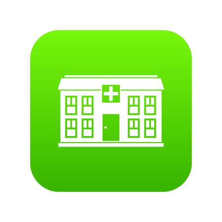Hospital icon digital green for any design isolated on white vector illustration