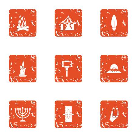 Mountainous region icons set. Grunge set of 9 mountainous region vector icons for web isolated on white background