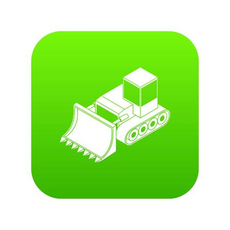 Bulldozer icon green vector isolated on white background