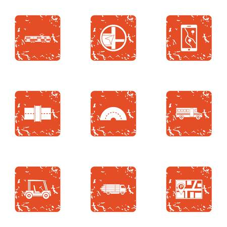 Escort car icons set. Grunge set of 9 escort car vector icons for web isolated on white background Illusztráció