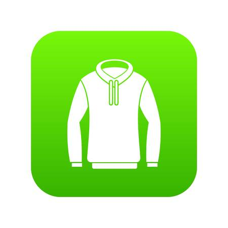 Hoody icon digital green for any design isolated on white vector illustration