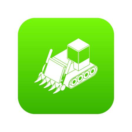 Construction bulldozer icon green vector isolated on white background