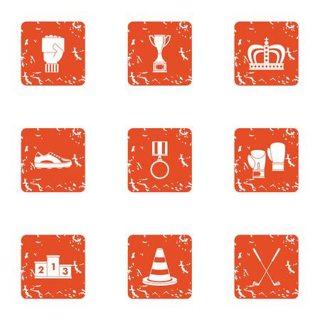 Recompense icons set. Grunge set of 9 recompense vector icons for web isolated on white background Illusztráció