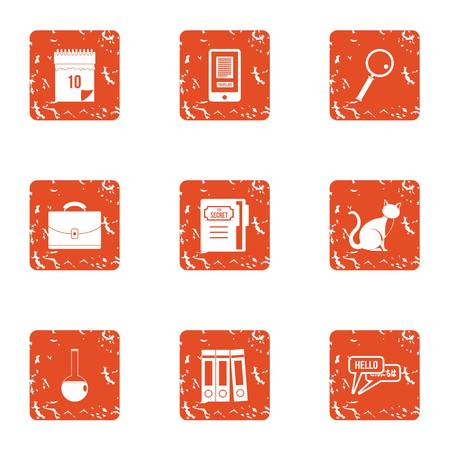 Language interpreter icons set. Grunge set of 9 language interpreter vector icons for web isolated on white background Vektorgrafik