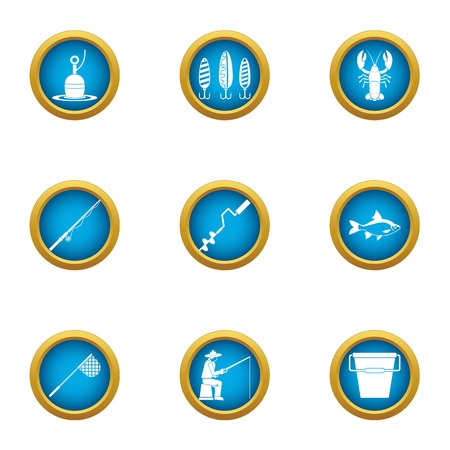 Angling icons set. Flat set of 9 angling vector icons for web isolated on white background