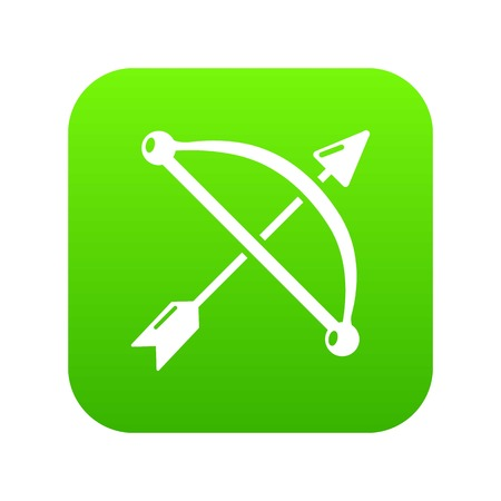 Medieval bow and arrow icon green vector