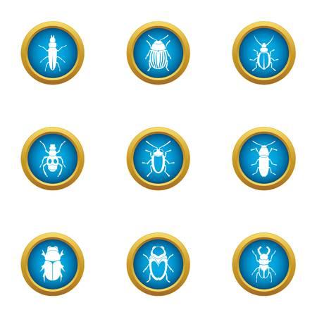 Shell beetle icons set, flat style