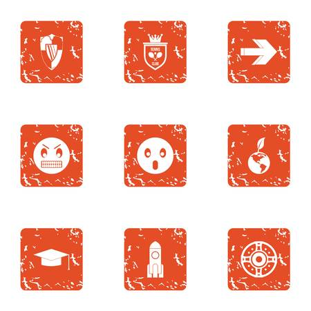 Inoffensive icons set, grunge style