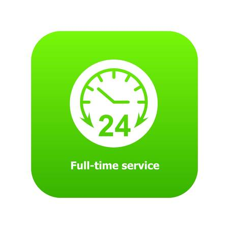 Full time service icon green vector isolated on white background