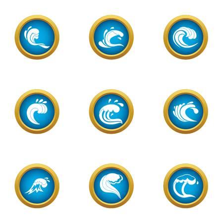 Shockwave icons set. Flat set of 9 shockwave vector icons for web isolated on white background