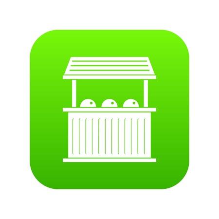 Karneval Messestand Symbol digital grün für jedes Design isoliert auf weißer Vektorillustration