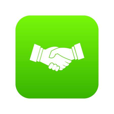 Handshake icon digital green for any design isolated on white vector illustration