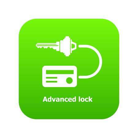 Advanced lock icon green vector isolated on white background