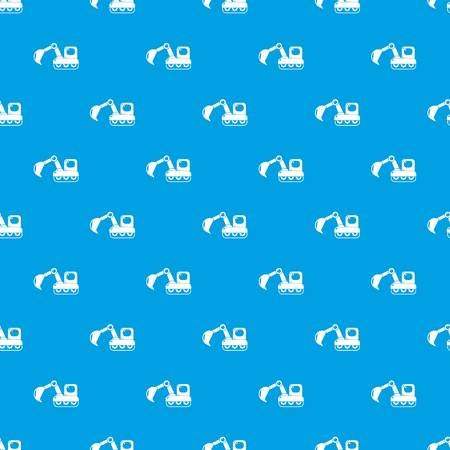 Excavator pattern vector seamless blue repeat for any use