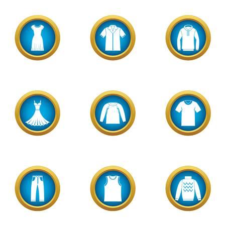 Light clothing icons set. Flat set of 9 light clothing vector icons for web isolated on white background