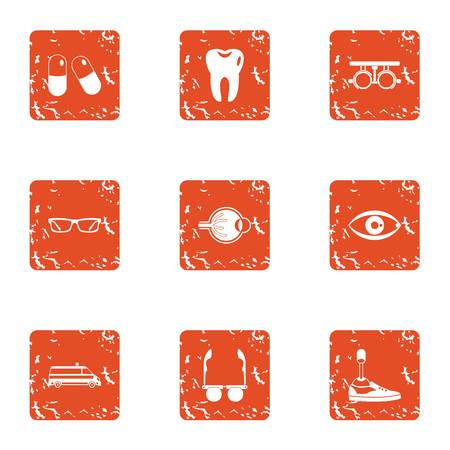 Spare part icons set. Grunge set of 9 spare part vector icons for web isolated on white background