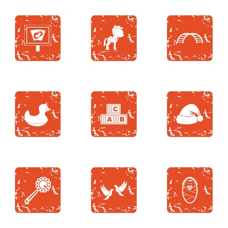 School course icons set. Grunge set of 9 school course vector icons for web isolated on white background
