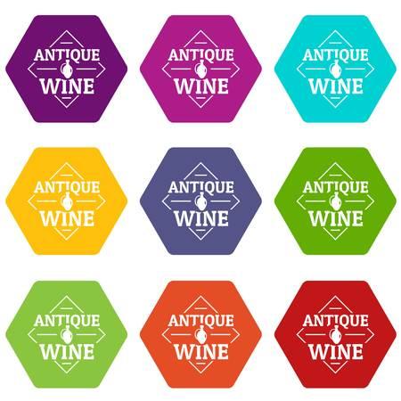 Antique wine icons set 9 vector