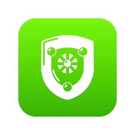 Antique shield icon green vector