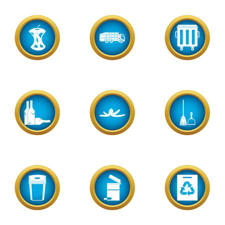 Garb icons set. Flat set of 9 garb vector icons for web isolated on white background Vettoriali
