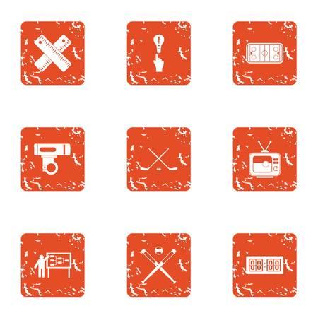 Coaching departure icons set. Grunge set of 9 coaching departure vector icons for web isolated on white background