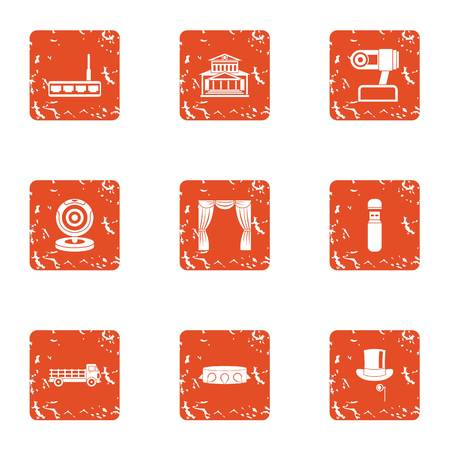 Progress in robotics icons set. Grunge set of 9 progress in robotics vector icons for web isolated on white background Illustration