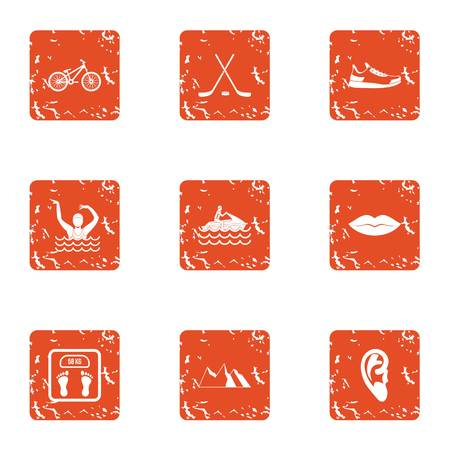 Relax in the mountain icons set. Grunge set of 9 relax in the mountain vector icons for web isolated on white background