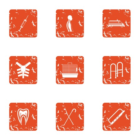 Part of the body icons set. Grunge set of 9 part of the body vector icons for web isolated on white background