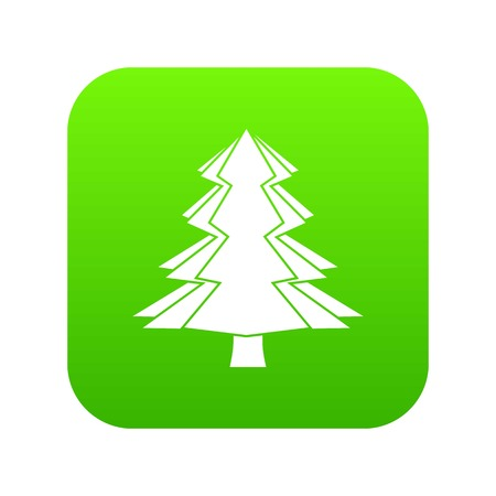 Fir tree icon digital green for any design isolated on white vector illustration