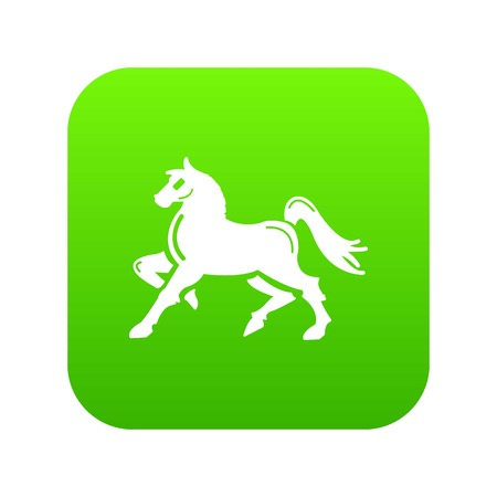 Knight horse mascot icon green vector isolated on white background