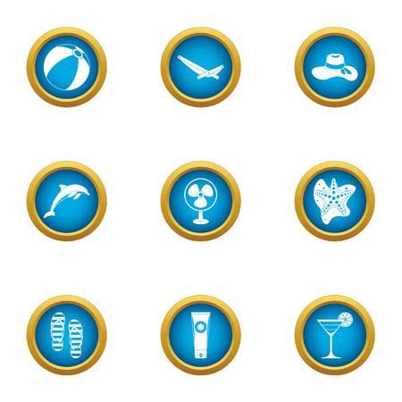 Marine beast icons set. Flat set of 9 marine beast vector icons for web isolated on white background