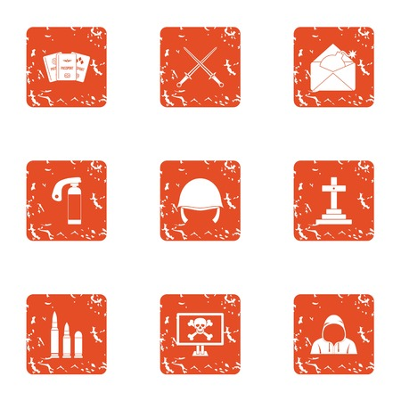 Insecurity icons set, grunge style