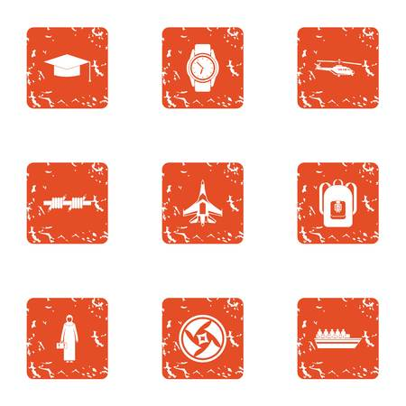 Photohunt icons set, grunge style