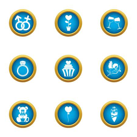 Rite of love icons set. Flat set of 9 rite of love vector icons for web isolated on white background