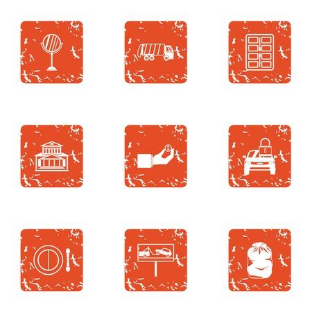 Urban survey icons set. Grunge set of 9 urban survey vector icons for web isolated on white background